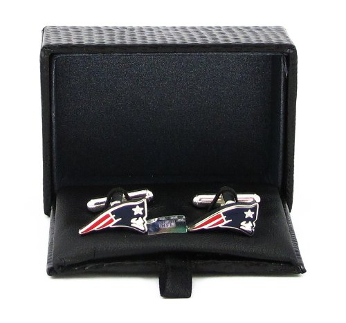 NFL New England Patriots Cut Out Logo Cuff Link, Silver