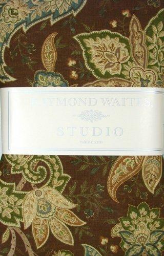"rw-b70 Raymond Waites Paisley 70"" Round Tablecloth 100% Cotton, Chocolate Brown Sage Green Aqua"