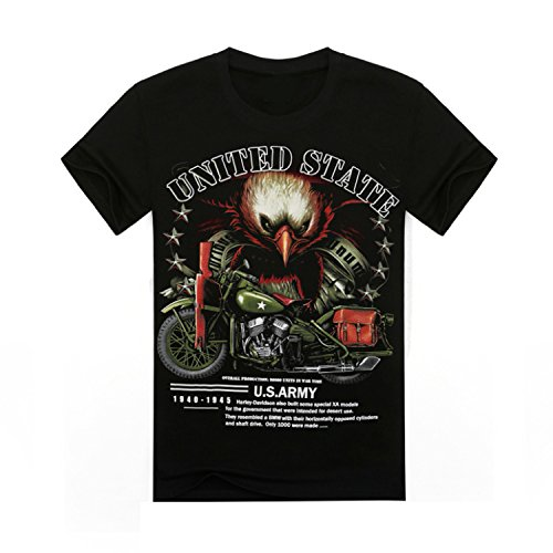 2016 High quality Mens short sleeve 3D t shirt Man 100% Cotton Eagle Skull Harley Ghost Rider Motor Europe Size Summer tees tops ( Size L )