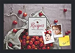 PinPix decorative pin cork bulletin board made from high quality canvas, Recipe Board with Bag of Cherries printed at 18x12 Inches and framed in Satin Black (PinPix-Group-36)