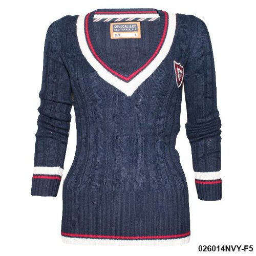 Ladies Soul Cal Deluxe Navy Fitted Jumper F7