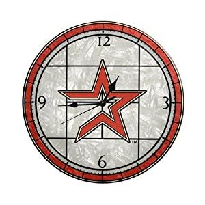 MLB Houston Astros 12-Inch Art Glass Clock by The Memory Company
