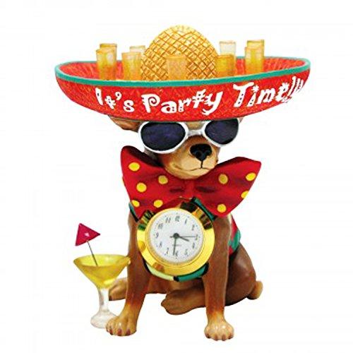 Best Mini Chihuahua Party Dog Miniature Desk Shelf Clock Office Novelty Cute Gag Prank Stocking Stuffer Gift Idea Boss Employee Executive Friend Coworker Mexico Memorabilia Under $20 Cinco de Mayo