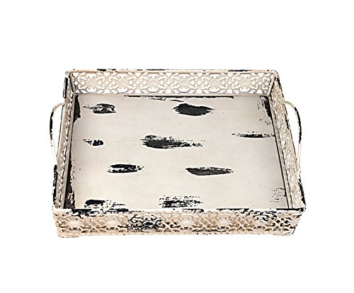 Attraction Design Metal Artisanal Square Tray, Cream