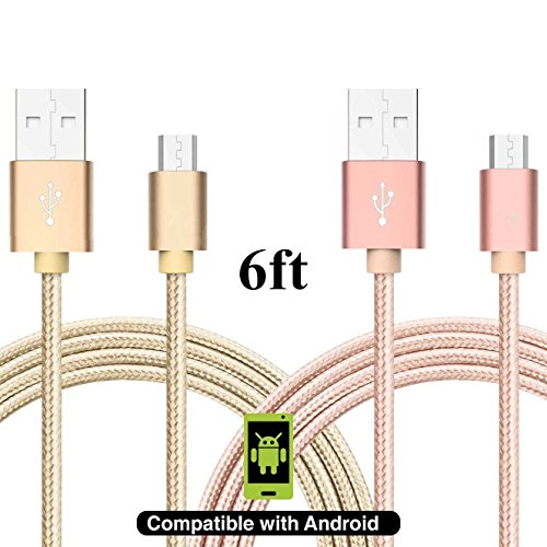 [2 Pack] Asstar Micro USB Cable Android Charger Nylon Braided Extra Long 2.0 Micro USB Charging Cable Cord for Samsung Galaxy, HTC, Huawei, LG, Motorolaand Other Tablet (gold pink) (Lg Galaxy compare prices)