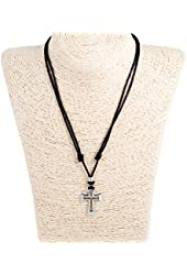 Adjustable Corded Necklace with Cross Cutout Pendant