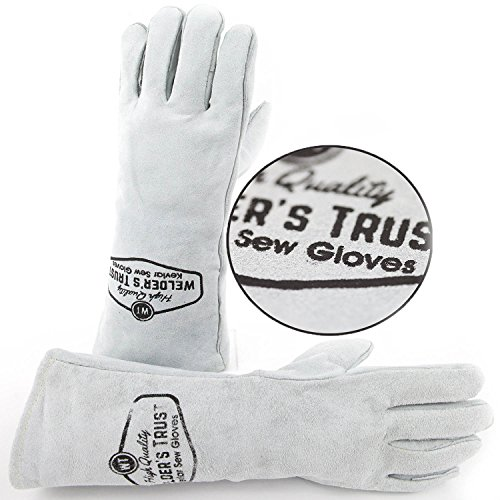 Check Out This Heavy Duty Thick Welding Gloves - Small Size Hands with Long Sleeves - Great for Stic...