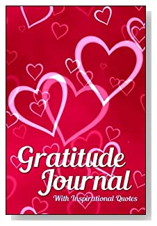 Gratitude Journal With Inspirational Quotes - Pink hearts galore create an attractive cover for this 5-minute gratitude journal for busy people.