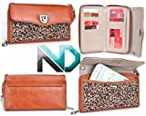 Motorola DROID RAZR MAXX HD Clutch Full Length Wallet Wristlet {Brown Leather with Leopard Print} with Credit Card Holder + ND Cable Tie