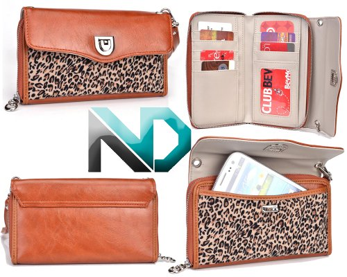 Women'S Smartphone Clutch Fits Dell Venue | Includes Removable Shoulder Strap (Sienna Brown/ Classic Leopard Print) +Nextdia Velcro Tie