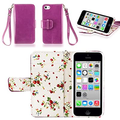 Click for IZENGATE Elegant Floral Skin Premium PU Leather Wallet Flip Case Cover Folio Stand for Apple iPhone 5C (Purple)