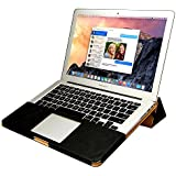 Jisoncase MacBook Air 13-inch Case, One-Piece Designed Protective Book Folio PU Leather Sleeve Pouch Shell Case Cover for Apple MacBook Air 13.3'' with Stand Function in Vintage Black JS-AIR-06R10