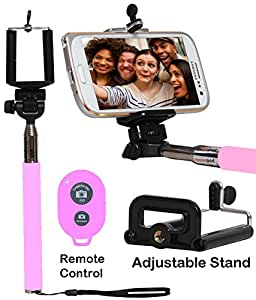 Selfie Stick Monopod With Bluetooth Remote Wireless Shutter Connectivity Compatible For Huawei G7 Plus-BABY PINK