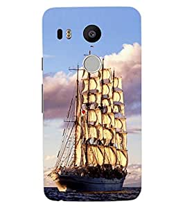 ColourCraft Beautiful Ship Design Back Case Cover for LG GOOGLE NEXUS 5X