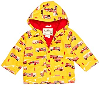 Hatley Little Boys' Children Fire Trucks Rain Coat, Yellow, 7