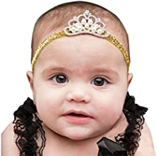 Oyedens Fotografia Bebes Newborn Photography Props Disfraz Infantil Adecuadocorona Banda Para El Cabello La Princesa Del Bebé Cristal Perla Corona Venda Regalos para recién nacidos Joyería