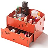 Cosmetic Wood Compartment Drawer Desk Ornaments Case Storage Organizer Ty466 (orange)