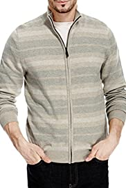 Pure Cotton Zip Through Piqu� Striped Jumper [T30-2559M-S]