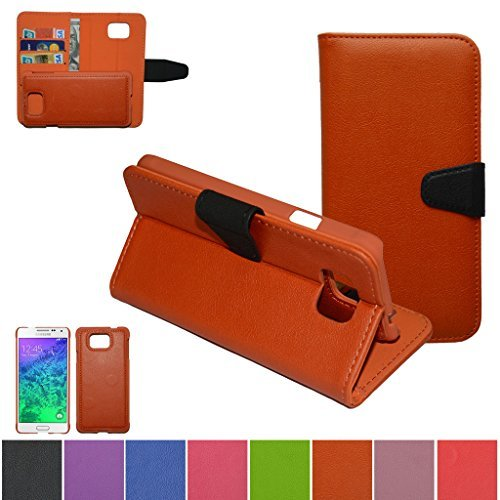 Samsung Galaxy Alpha Case,Mama Mouth [DETACHABLE Feature] Folio Flip Hard Case [Stand View] Premium PU Leather [Wallet Case] With Built-in Media Stand ID Credit Card / Cash Slots and Inner Pocket Cover For Samsung Galaxy Alpha G850F G850M G850A, Orange (Samsung Alpha Case Custom compare prices)