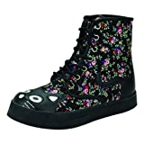 T.U.K. Shoes Black Floral Kitty Combat Boot