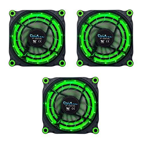APEVIA 312L-DGN 120mm Silent Black Case Fan with 15 x Green LEDs & 8 x Anti-Vibration Rubber Pads (3 Pk) - Best Value