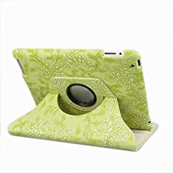 Ctech 360 Degrees Rotating Stand Stylish Embossed Flowers Case for iPad 3/2 with Stylus Supports Smart Cover Wake/Sleep -Green