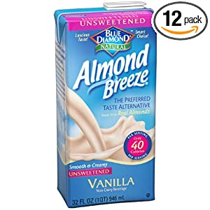 Blue Diamond Almond Breeze Milk, Unsweetened Vanilla, 32-Ounce Boxes (Pack of 12)