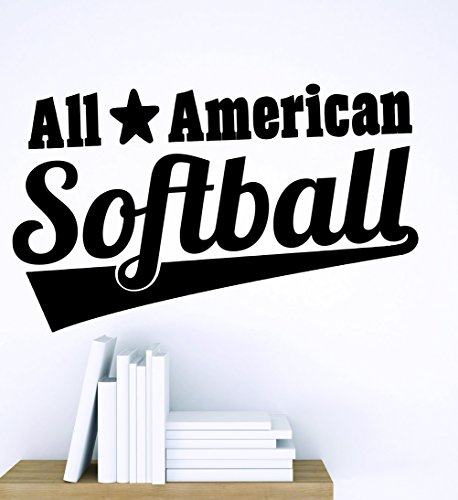 Design with Vinyl Zzz 862 2 Decor Item All American Softball Boys Kids Sports Team Wall Sticker Decal, 16-Inch x 24-Inch, Black