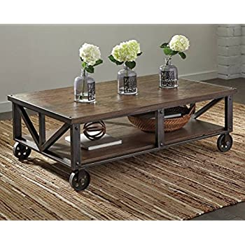 Rectangular Cocktail Table in Medium Brown Finish