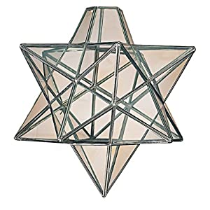 Moravian Star Clear Glass Chrome Ceiling Light Shade Pendant from Dove Mill Lighting