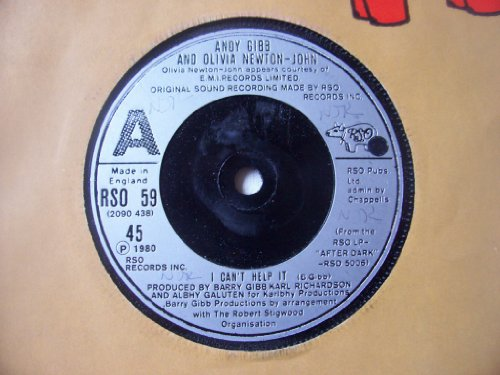 "ANDY GIBB OLIVIA NEWTON JOHN I Cant Help It 7"" 45 by Andy Gibb / Olivia Newton-John"