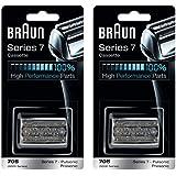 BRAUN 70S 9000 Series 7 Pulsonic Prosonic Shaver Foil & Cutter Head Replacement Cassette Cartridge, 2 Pack