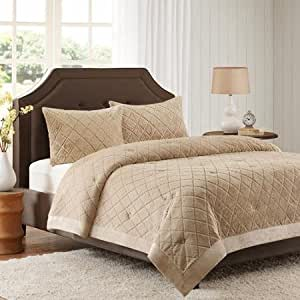 Better Homes And Gardens Faux Fur Bedding Comforter Mini Set Tan Full Queen
