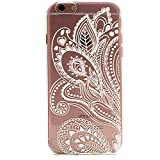 iPhone 6 Case, LUOLNH Henna White Floral Paisley Flower Hard Plastic Clear Case Silicone Skin Cover for Apple Iphone6 4.7 inch Screen