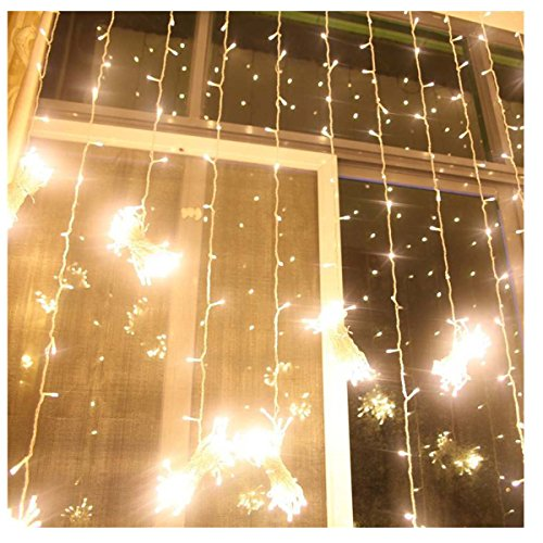 Aogist Curtain Lights 304led 9.8*9.8ft Warm White Christmas Curtain ...