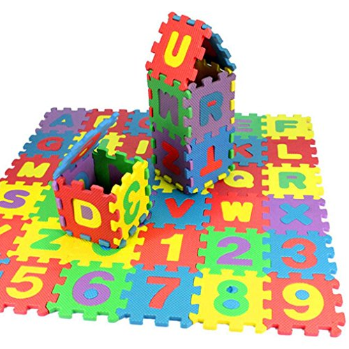 Ularma 36 Pezzi Puzzle Di Numero Alfabeto EVA Di Schiuma , Tappetini Puzzle Giocattolo Educativo Per Bambini 12*12CM