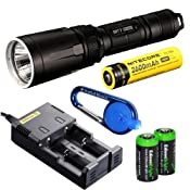 Nitecore SRT7 Revenger 960 Lumens XM-L2 LED Built in Red, Green, Blue Lights, Red-Blue Strobe, Variable brightness Flashlight/searchlight with Genuine Nitecore i2 intelligent Charger, Nitecore NL186 18650 Li-ion rechargeable battery, Car Charging Cable and 2 X EdisonBright CR123A lithium Batteries