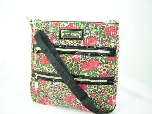 Betsey Johnson Cheetah Blossom Crossbody Handbag Purse Natual Multi