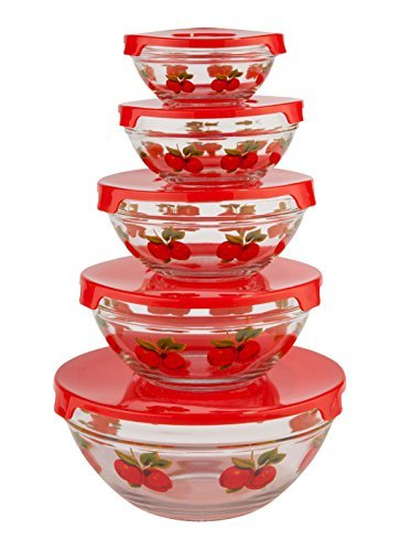 WalterDrake Red Apples Glass Bowls - Set of 5 (5 Piece Glass Bowl Set compare prices)