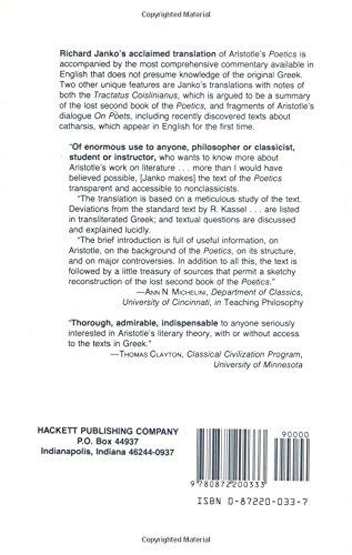 Poetics: Bk. 1 (Hackett Classics)