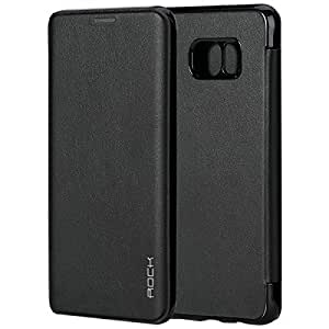 ROCK Slim Fit Synthetic Leather Flip Case Cover for Samsung Galaxy S6 Edge Plus (Black)