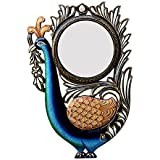 Divraya Wood Peacock Wall Mirror (30.48 Cm X 4 Cm X 45.72 Cm, DA128)