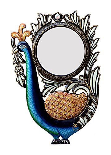 Divraya Wood Peacock Wall Mirror (30.48 Cm X 4 Cm X 45.72 Cm, DA128)