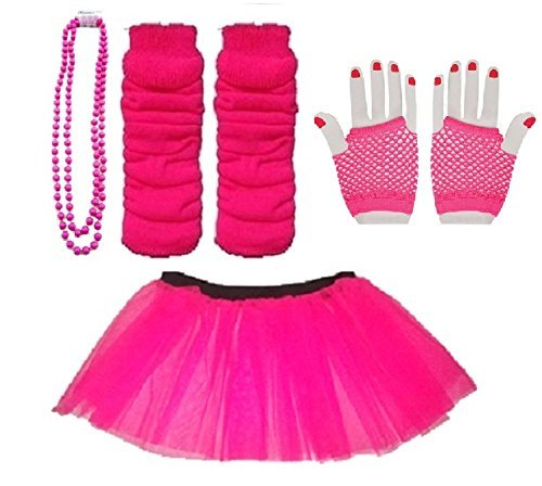 Neon Tutu, Short Fishnet Gloves, Legwarmers & Beads Necklace. Sizes 16-24