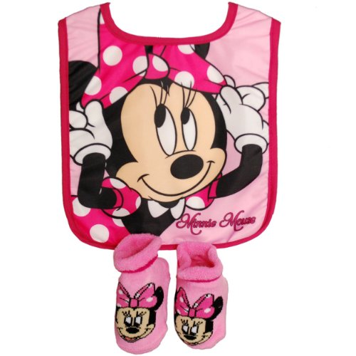 Baby-Girls Infant Minnie Mouse Bib and Bootie Set, Pink, One Size