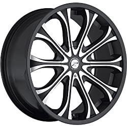 Platinum Mogul 24 Black Wheel / Rim 6×5.5 & 6×135 with a 25mm Offset and a 106 Hub Bore. Partnumber 408-2435B+25