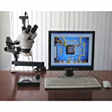 AmScope SM-6TPZ-64S-5M Digital Professional Trinocular Stereo Zoom Microscope with Simultaneous Focus Control WH10x Eyepieces 3.5X-90X Magnification 0.7X-4.5X Zoom Objective 64-Bulb LED Ring Light Clamping Articulating Arm Stand 110V-240V Includes 0.5X and 2.0X Barlow Lenses and 5MP Camera with Reduction Lens and Software