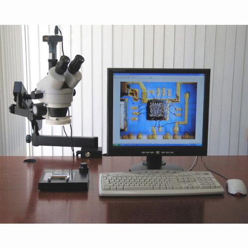 Amscope Sm-6Tpz-64S-5M Digital Professional Trinocular Stereo Zoom Microscope With Simultaneous Focus Control, Wh10X Eyepieces, 3.5X-90X Magnification, 0.7X-4.5X Zoom Objective, 64-Bulb Led Ring Light, Clamping Articulating Arm Stand, 110V-240V, Includes