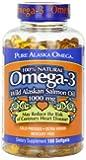 Pure Alaska Omega-3 Wild Alaskan Salmon Oil  1000mg Softgels  180-Count