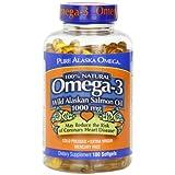 Pure Alaska Omega-3 Wild Alaskan Salmon Oil  1000mg Softgels  180-Count ~ Pure Alaska